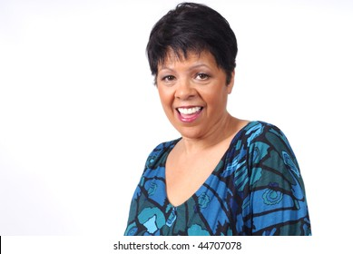 mature woman with happy smile on her face