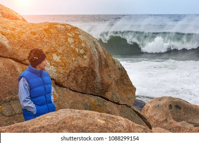 Mature Woman On storm Beach