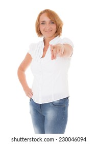 Mature woman pointing with finger. All on white background.