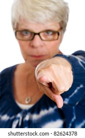 Mature woman pointing her finger.