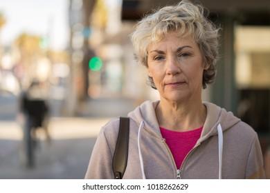 Mature woman serious face portrait
