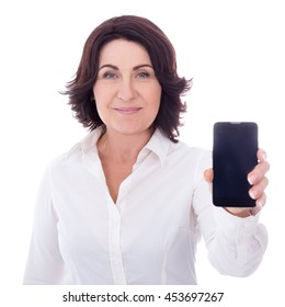 mature woman showing smart phone with blank screen isolated on white background