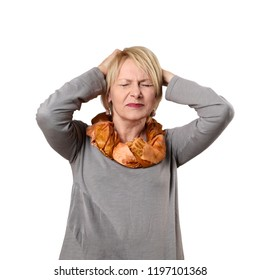 Mature woman suffers from headache clasping head hands isolated on white background