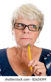 Mature woman thinking.