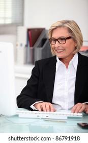 mature, woman,  typing