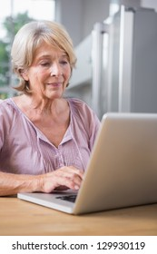 Mature woman using her laptop at home