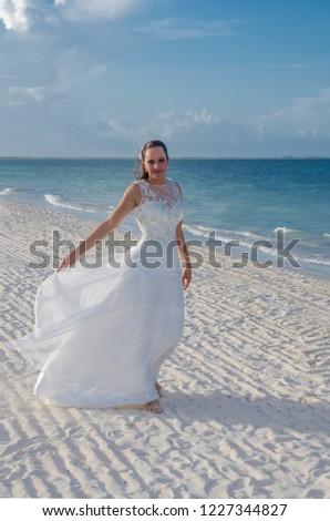 Mature Woman Wedding Dress On Tropical Stock Photo Edit Now