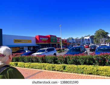 Mature Woman with white hair looking on at Penrith Homemaker Centre, Pattys Place, New South Wales, Australia.  Photo taken on 4 May 2019.