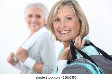 mature women at fitness center