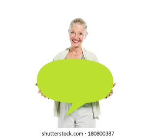 Mature Women Holding Speech Bubble