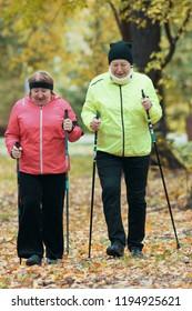 Mature women walking in an autumn park during a scandinavian walk. Fall