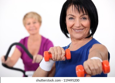 Mature women working out