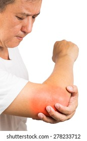 Matured man suffering from painful elbow