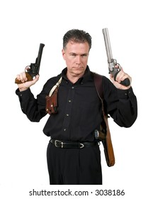 Mature,male wearing a shoulder holster holding a nine millimeter and a 44 magnum.