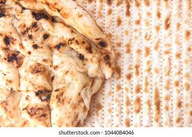 Matza and chametz (leavened bread) concept - illustration to Passover Jewish festival song that mentions both of them eaten throughout the year unlike Passover when only matza is eaten
