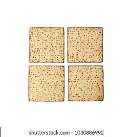 Matzah isolated on white, jewish traditional Passover bread, top view. Pesach celebration symbol.