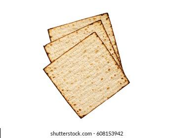 Matzah isolated on white, jewish traditional Passover bread. Pesach celebration symbol.