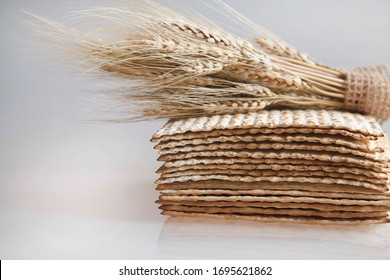 Matzah for passover isolated on white background