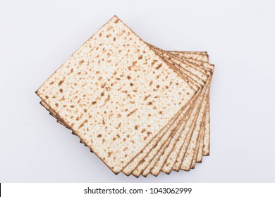 Matzah passover pesach traditional food matzot Jewish holiday flat lay design