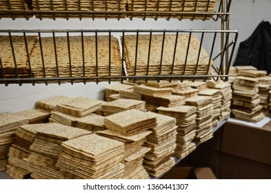 Matzah production at the old Streits Matzo factory in Manhattan's Lower East Side. Matzah is a traditional Jewish food eaten on the holiday Passover.