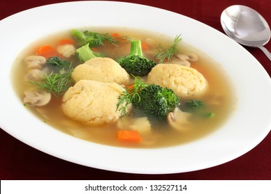 Matzo ball soup for  Passover close up