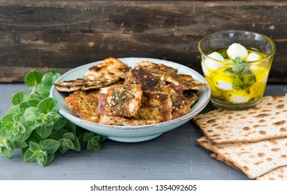 matzo brei with Za'atar and labneh and olive oil