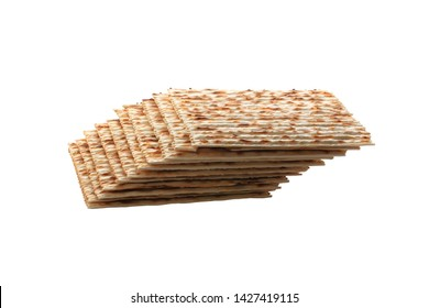 Matzo isolated on white background. jewish bread for the holidays