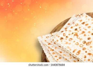 Matzo for passover seder celebration on white background