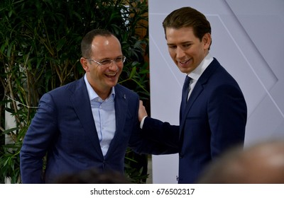 Mauerbach, Austria. July 11th 2017: OSCE Informal Ministerial Meeting in Mauerbach. Austrian Foreign Minister Sebastian Kurz welcomes Albanian Foreign Minister Ditmir Bushati