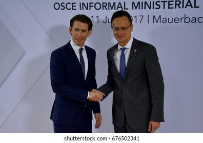 Mauerbach, Austria. July 11th 2017: OSCE Informal Ministerial Meeting in Mauerbach. Austrian Foreign Minister Sebastian Kurz welcomes Hungarian Foreign Minister Peter Szijjarto