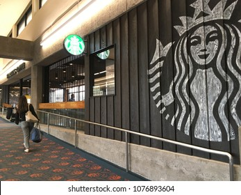 MAUI, HAWAII - APRIL 23, 2018: Starbucks Store at Kahului Airport