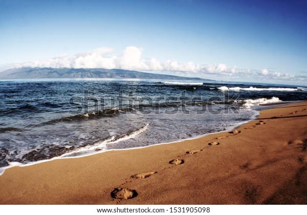 Maui Hawaii Kaanapali Beach Low Key Royalty Free Stock Image
