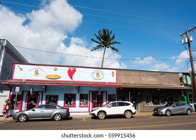 Maui, Hawaii: October 24, 2016: Street scene in the town of Paia on the island of Maui, Hawaii.  The 2010 census shows that 2,668 people live in the town of Paia.