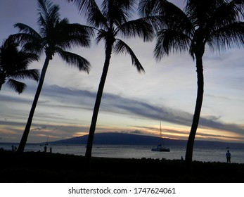 Maui Hawaii tropical sunset over the island of Lanai as seen from Kaanapali Beach
