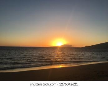 Maui, Hawaii / USA - April 2017: Sugar Beach Sunset