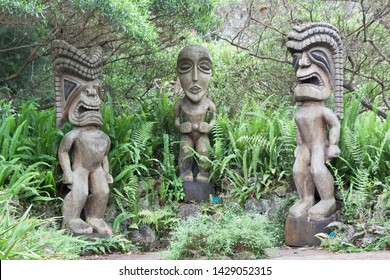Maui, Hawaii / USA - June 17 2019: Hawaiian tiki statues at Kula Botanical garden
