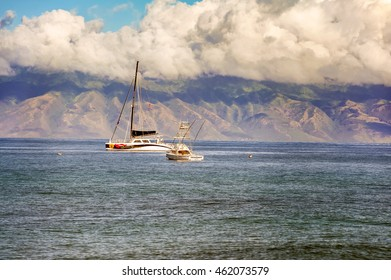 Maui, Hawaii, USA - November 14, 2011: Boats  at the southern coast of Maui island in Hawaii.