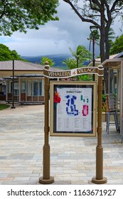 MAUI, HI -2 APR 2018- View of the Whalers Village, a landmark outdoor shopping center on Kaanapali Beach on the West shore of the Hawaiian island of Maui, Hawaii.