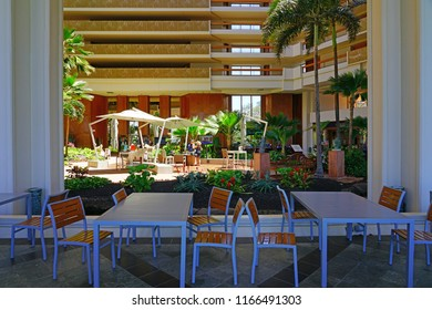 MAUI, HI -2 APR 2018- The Hyatt Regency hotel Maui, decorated in a mix of Japanese and Hawaiian styles, is one of many resorts in Kaanapali, on the West shore of the island of Maui in Hawaii.