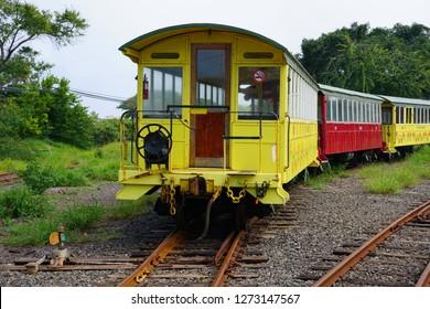 MAUI, HI -2 APR 2018- View of the historic sugar cane tourist train in Kaanapali, Maui, Hawaii.