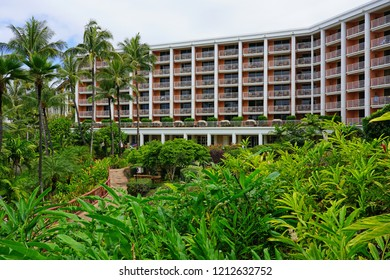 MAUI, HI -30 MAR 2018- View of the Grand Wailea, a Waldorf Astoria hotel, one of several resorts in the exclusive Wailea area on the West shore of the Hawaiian island of Maui.