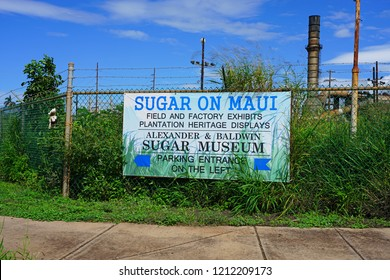 MAUI, HI -30 MARCH 2018- View of an old sugar plantation and factory and Alexander & Baldwin Sugar Museum, located in Puʻunene, Hawaii, Kahului, Maui.