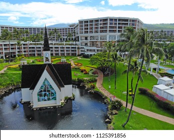 MAUI, HI -5 APR 2018- Aerial view of the little wedding chapel at Grand Wailea, a Waldorf Astoria hotel, a resort in the exclusive Wailea area on the West shore of the Hawaiian island of Maui.