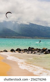 Maui kite surfer on shore at Kanaha Beach Park