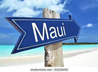 Maui sign on the beach