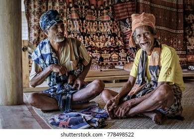 Mauliru, Haumara, Waingapu, East Sumba, East Nusa Tenggara, Indonesia - November 2017 : An older Sumbanese man laughing and just being happy