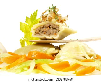 Maultaschen with Meat Stock - Traditional German Style