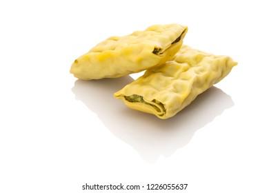 Maultaschen swabian dumplings speciality white isolateld