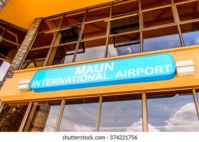MAUN, BOTSWANA - JAN 11, 2016: Airport of Maun, Botswana. Maun is the fifth largest town in Botswana and the gateway to Okavango Delta