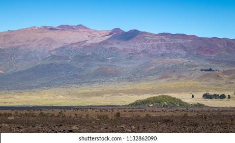 Mauna Kea, seen from Mauna Loa, Puu Huluhulu in the foreground.